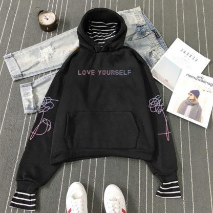 BTS Love Yourself Striped hoodie in black