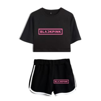 Blackpink Black Crop Top and Black Shorts