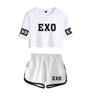 EXO White Crop Top and White Shorts