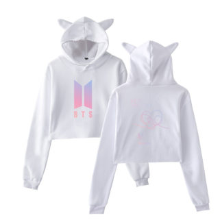 BTS Love Yourself Answer Cat Hoodie in white