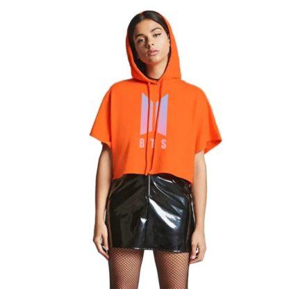 BTS cropped hoodie in orange