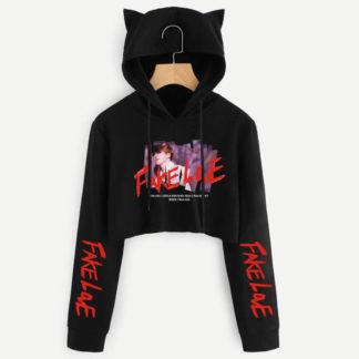 BTS Fake Love Jimin cat hoodie in black
