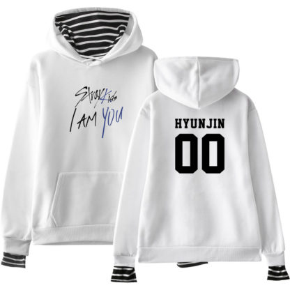 Stray Kids I am You Striped hoodie in white Hyunjin