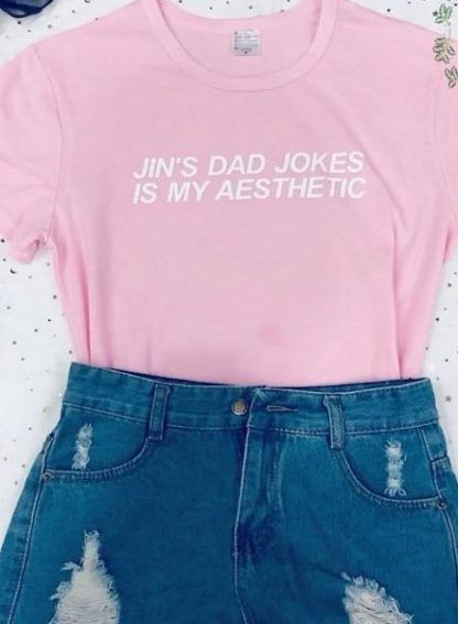 BTS Jin Dad Jokes is my aesthetic t-shirt in pink