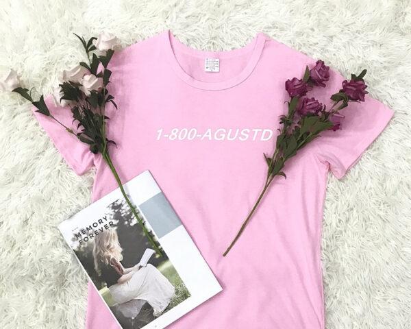 BTS Suga 1-800-AGUSTD shirt in pink