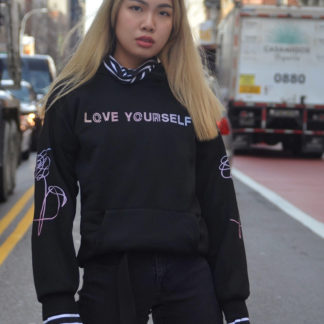 Love yourself striped hoodie - NYC