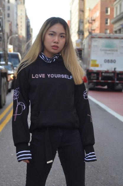 Love yourself striped hoodie - NYC
