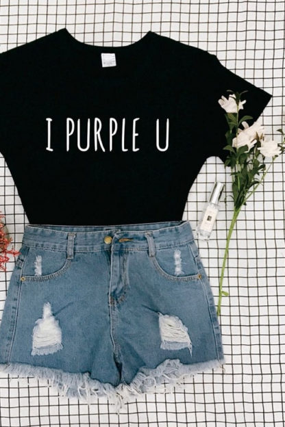 BTS i purple u t-shirt in black