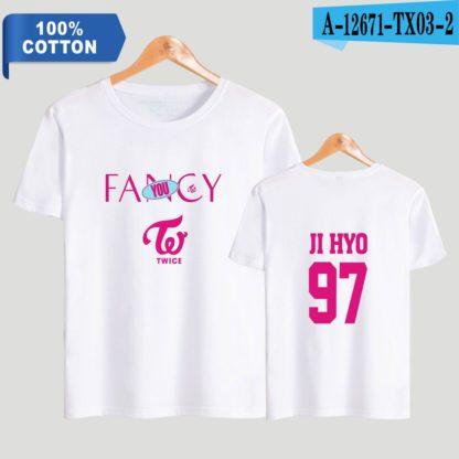 TWICE fancy t-shirt jihyo in white
