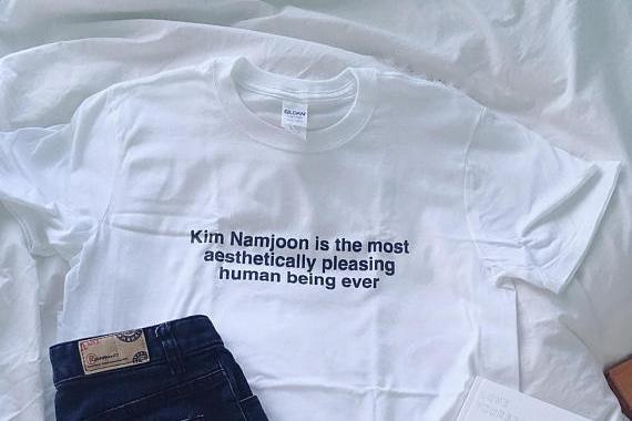 Kim Namjoon is Aesthetically pleasing t-shirt in white