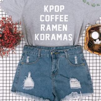 Kpop, coffee, ramen , kdramas shirt in grey