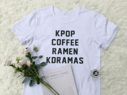 Kpop, coffee, ramen , kdramas shirt in white