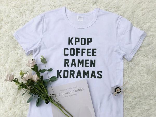 Kpop, café, ramen, chemise kdramas en blanc