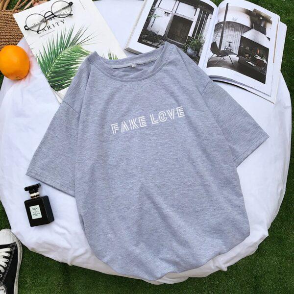 BTS Fake Love Shirt in gray