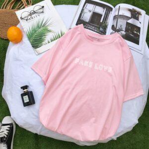 BTS Fake Love Shirt in pink