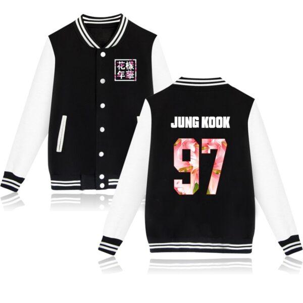 K-pop BTS Flower Baseball Jacket Jungkook in black