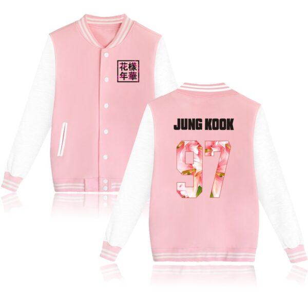 K-pop BTS Flower Baseball Jacket Jungkook in pink
