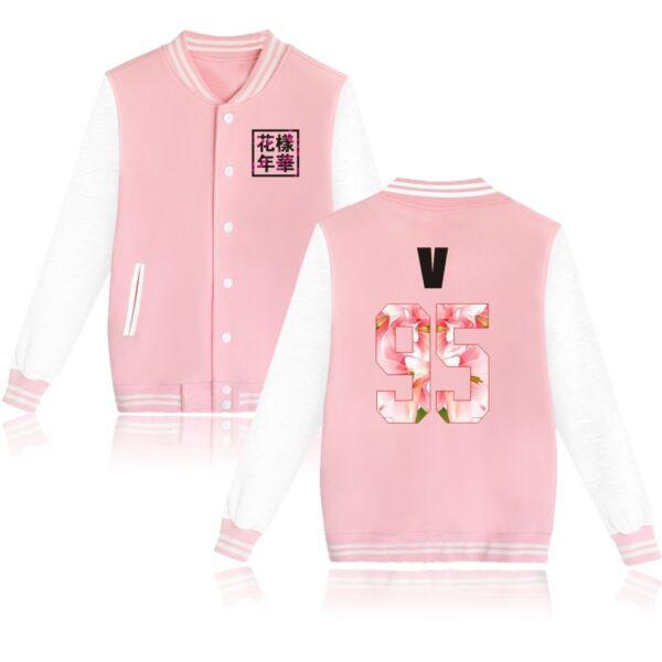 K-pop BTS Flower Baseball Jacket V in pink