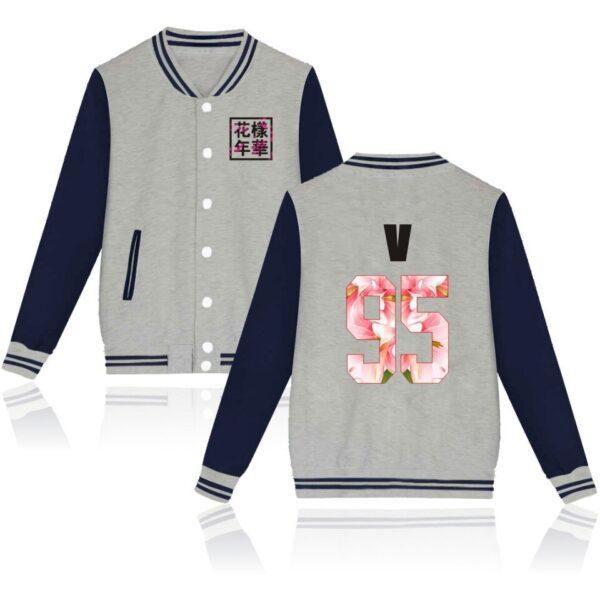 K-pop BTS Flower Baseball Jacket V in navy and grey
