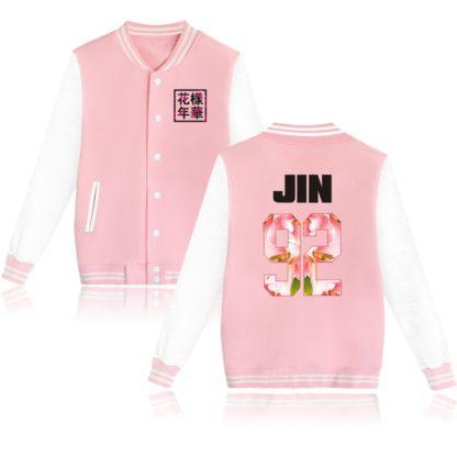 K-pop BTS Flower Baseball Jacket Jin in pink