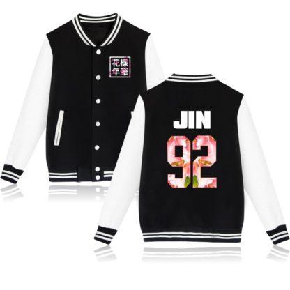 K-pop BTS Flower Baseball Jacket Jin in black