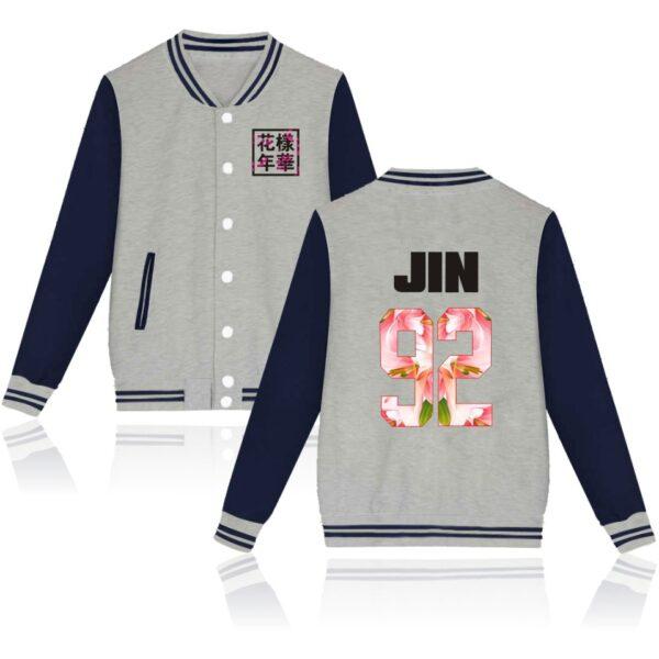 K-pop BTS Flower Baseball Jacket Jin in navy and grey