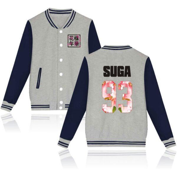 K-pop BTS Flower Baseball Jacket Suga in grey and navy