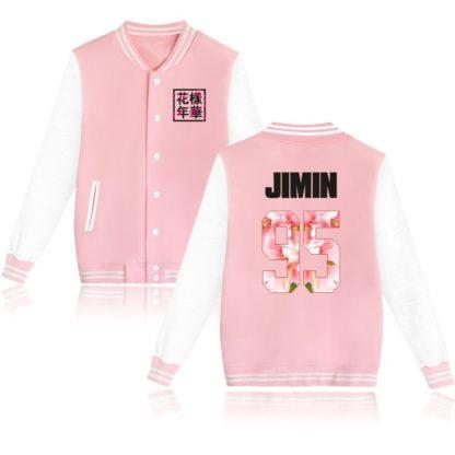 K-pop BTS Flower Baseball Jacket Jimin in pink